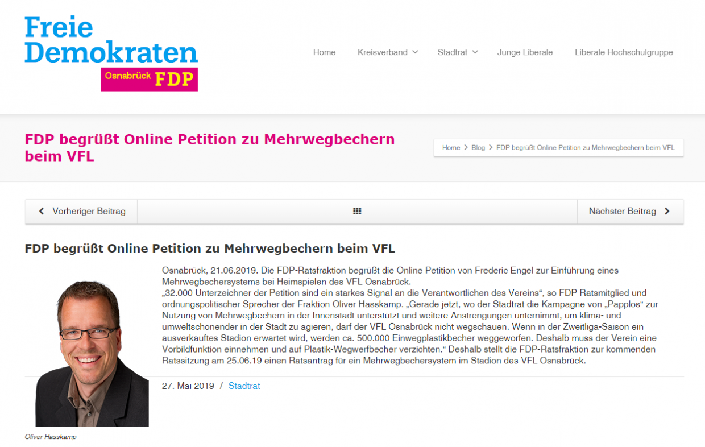 FDP begrüßt Online Petition zu Mehrwegbechern beim VFL